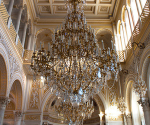 chandelier, architecture, and luxury image