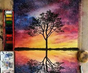 art, tree, and painting image