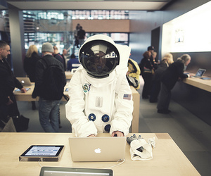 apple, astronaut, and photography image