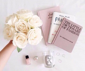 rose, book, and white image