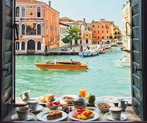 travel, breakfast, and venice image