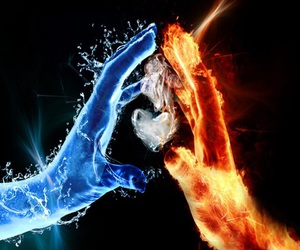 fire, water, and heart image