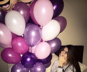 balloons, girl, and style image