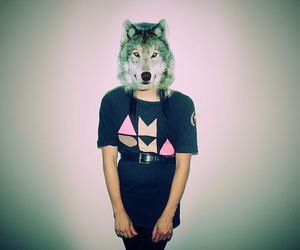 girl, wolf, and hipster image
