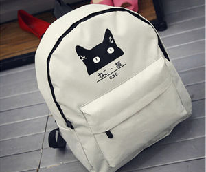backpack, fashion, and meow image