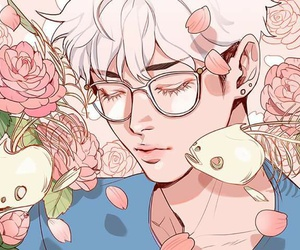 fish, glasses, and flower image