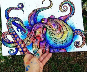 octopus, art, and colors image