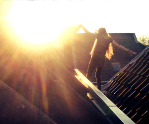 dangerous, girl, and roof image