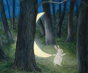 art, moon, and watership down image