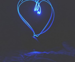 bed, heart, and blue image