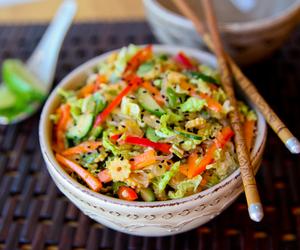 salad, vegan, and egg roll image