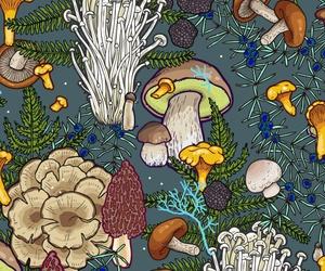 background, mushroom, and pattern image