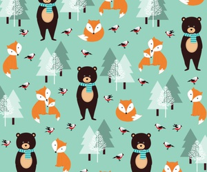 background, bear, and fox image