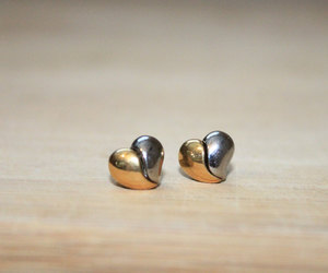 broken heart, unique, and gold earrings image