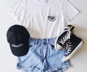 black converse, shirts, and white t-shirt image