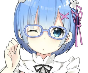 anime, rem, and glasses image