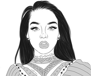 girl, black and white, and outline image