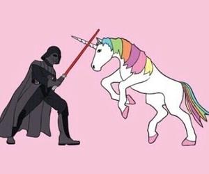 unicorn, pink, and star wars image