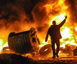 fire, guy, and protest image