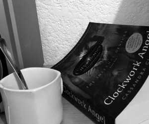 blackandwhite, book, and cup image