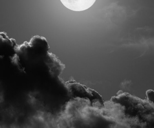 black and white, moon, and sky image