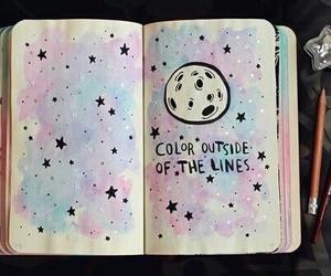 stars, art, and moon image