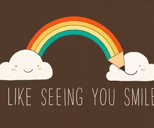 smile, rainbow, and clouds image