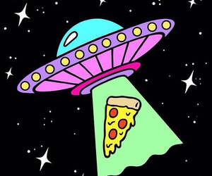 alien, pizza, and space image