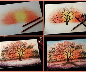 art, tree, and drawing image
