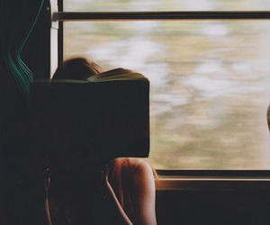 book, girl, and train image
