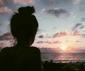 girl, sunset, and sky image