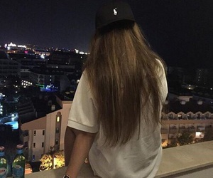 girl, night, and hair image