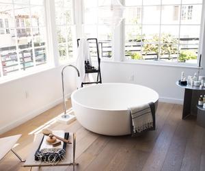bathroom, bathtub, and minimalist image