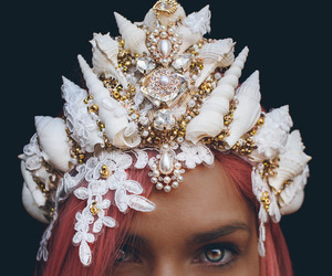 mermaid, crown, and seashells image