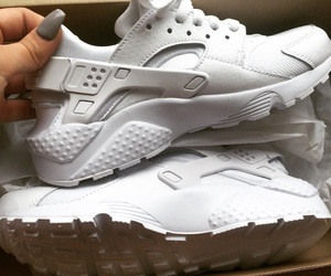 white, nike, and huarache image