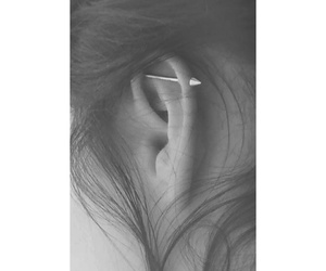 black'n'white, industrial, and piercing image