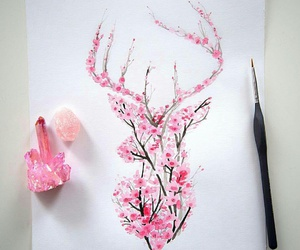 art, pink, and flowers image