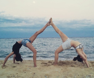 beach, yoga, and best friends image