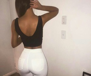 black, jeans, and white image