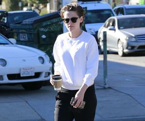 kristen stewart, coffee, and outfit image