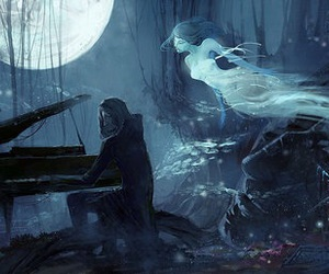 anime, ghost, and moonlight image