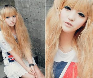 girl, hair, and korean image