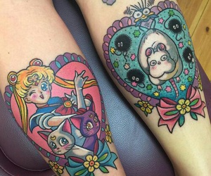 tattoo, sailor moon, and spirited away image