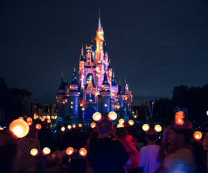 disney, night, and castle image