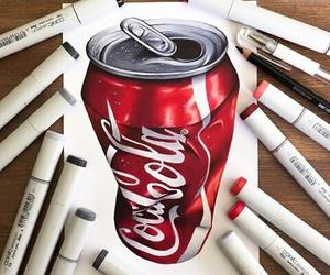 art, coca cola, and drawing image