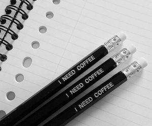 black, coffee, and pencil image