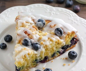 food, blueberry, and cake image