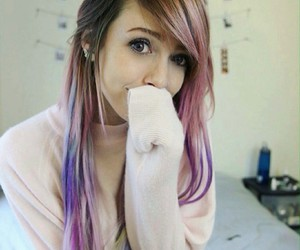 colored hair, pink hair, and purple hair image