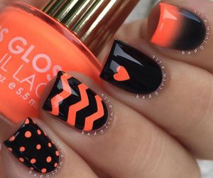 nails, orange, and black image