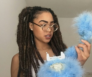 blue, glasses, and hairstyle image